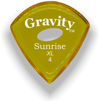 Load image into Gallery viewer, Sunrise XL 4.0mm Yellow Elipse Grip Acrylic Guitar Pick Handmade Custom Best Acoustic Mandolin Electric Ukulele Bass Plectrum Bright Loud Faster Speed