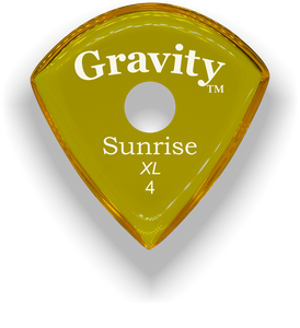 Sunrise XL 4.0mm Yellow Single Round Grip Acrylic Guitar Pick Handmade Custom Best Acoustic Mandolin Electric Ukulele Bass Plectrum Bright Loud Faster Speed