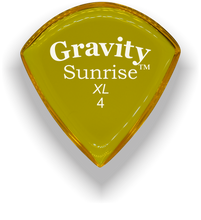 Load image into Gallery viewer, Sunrise XL 4.0mm Yellow Acrylic Guitar Pick Handmade Custom Best Acoustic Mandolin Electric Ukulele Bass Plectrum Bright Loud Faster Speed