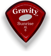 Load image into Gallery viewer, Sunrise XL 6.0mm Red Elipse Grip Acrylic Guitar Pick Handmade Custom Best Acoustic Mandolin Electric Ukulele Bass Plectrum Bright Loud Faster Speed