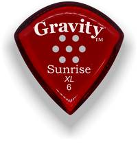 Load image into Gallery viewer, Sunrise XL 6.0mm Red Multi-Hole Grip Acrylic Guitar Pick Handmade Custom Best Acoustic Mandolin Electric Ukulele Bass Plectrum Bright Loud Faster Speed