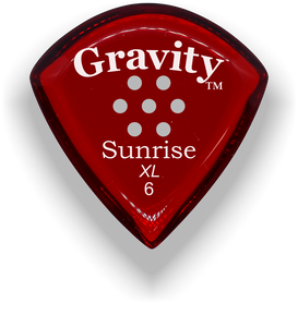Sunrise XL 6.0mm Red Multi-Hole Grip Acrylic Guitar Pick Handmade Custom Best Acoustic Mandolin Electric Ukulele Bass Plectrum Bright Loud Faster Speed