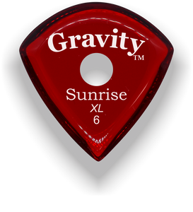 Sunrise XL 6.0mm Red Single Round Grip Acrylic Guitar Pick Handmade Custom Best Acoustic Mandolin Electric Ukulele Bass Plectrum Bright Loud Faster Speed