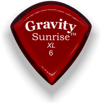 Load image into Gallery viewer, Sunrise XL 6.0mm Red Acrylic Guitar Pick Handmade Custom Best Acoustic Mandolin Electric Ukulele Bass Plectrum Bright Loud Faster Speed