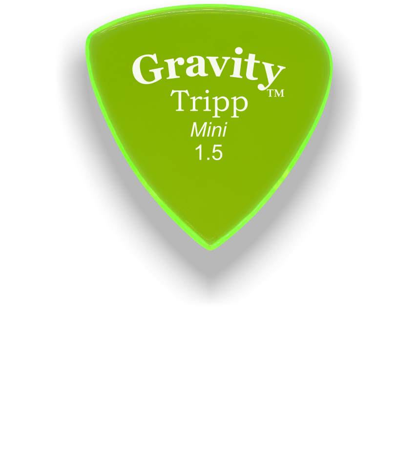 Tripp Mini Jazz 1.5mm Fluorescent Green Acrylic Guitar Pick Handmade Custom Best Acoustic Mandolin Electric Ukulele Bass Plectrum Bright Loud Faster Speed