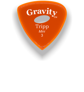 Tripp Mini Jazz 3.0mm Orange Elipse Grip Acrylic Guitar Pick Handmade Custom Best Acoustic Mandolin Electric Ukulele Bass Plectrum Bright Loud Faster Speed
