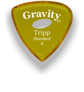 Tripp Standard 4.0mm Yellow Elipse Grip Acrylic Guitar Pick Handmade Custom Best Acoustic Mandolin Electric Ukulele Bass Plectrum Bright Loud Faster Speed