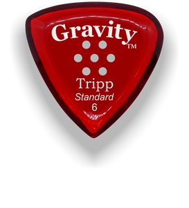 Tripp Standard 6.0mm Red Multi-Hole Grip Acrylic Guitar Pick Handmade Custom Best Acoustic Mandolin Electric Ukulele Bass Plectrum Bright Loud Faster Speed