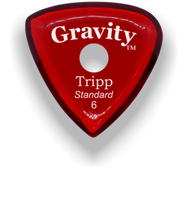 Tripp Standard 6.0mm Red Single Round Grip Acrylic Guitar Pick Handmade Custom Best Acoustic Mandolin Electric Ukulele Bass Plectrum Bright Loud Faster Speed