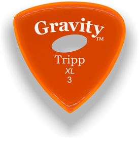 Tripp XL 3.0mm Orange Elipse Grip Acrylic Guitar Pick Handmade Custom Best Acoustic Mandolin Electric Ukulele Bass Plectrum Bright Loud Faster Speed