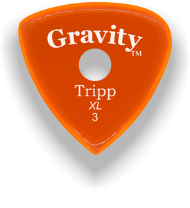 Tripp XL 3.0mm Orange Single Round Grip Acrylic Guitar Pick Handmade Custom Best Acoustic Mandolin Electric Ukulele Bass Plectrum Bright Loud Faster Speed