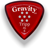 Load image into Gallery viewer, Tripp XL 6.0mm Red Multi-Hole Grip Acrylic Guitar Pick Handmade Custom Best Acoustic Mandolin Electric Ukulele Bass Plectrum Bright Loud Faster Speed
