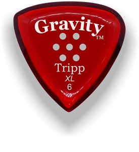 Tripp XL 6.0mm Red Multi-Hole Grip Acrylic Guitar Pick Handmade Custom Best Acoustic Mandolin Electric Ukulele Bass Plectrum Bright Loud Faster Speed