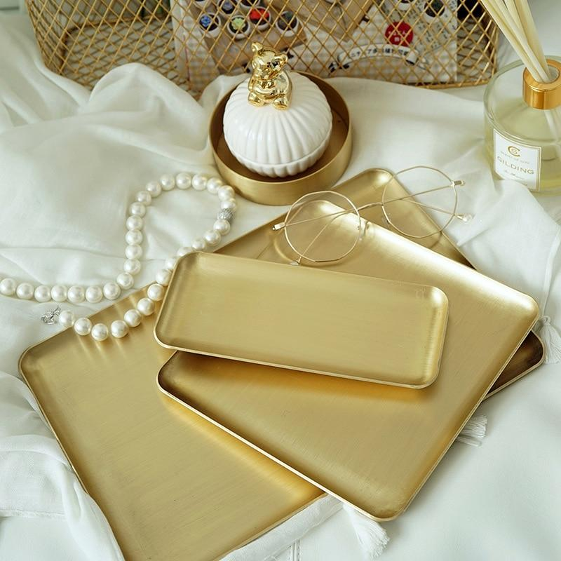 Retro Rectangular Golden Copper Tray - Simply Hygge