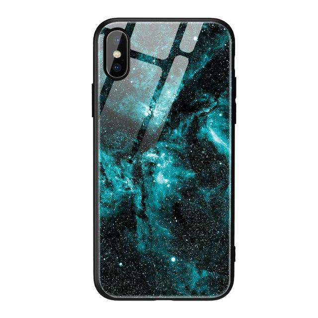 Tempered Glass Blue Galaxy Phone Case - iPhone - Bool