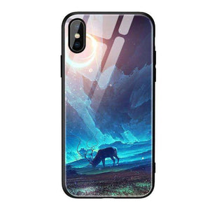 Tempered Glass Deer Eclipse Phone Case - iPhone - Bool