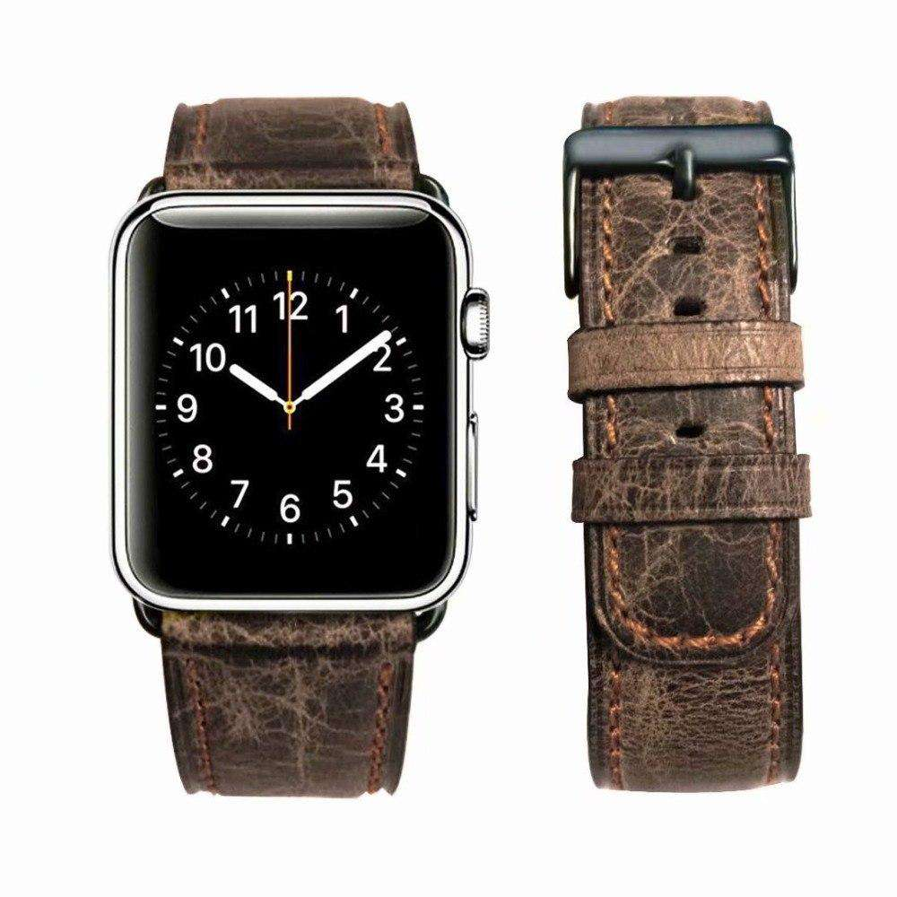 Retro Cracked Genuine Leather Apple Watch Strap - Bool