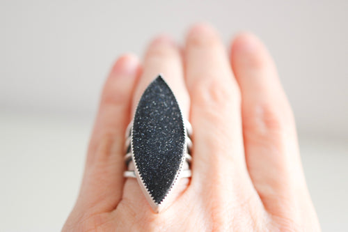 Drusy Onyx ring. Sterling silver ring with drusy Onyx.