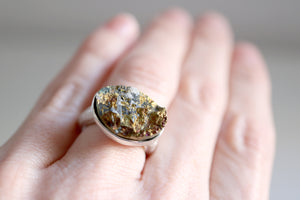Chalcopyrite ring. Sterling silver ring with natural Chalcopyrite.