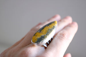 Bumble Bee ring. Sterling silver ring with Bumble Bee Jasper.