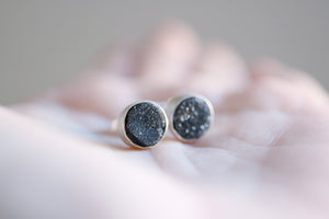 Onyx earrings. Sterling silver earrings with 9mm druzy Onyx.