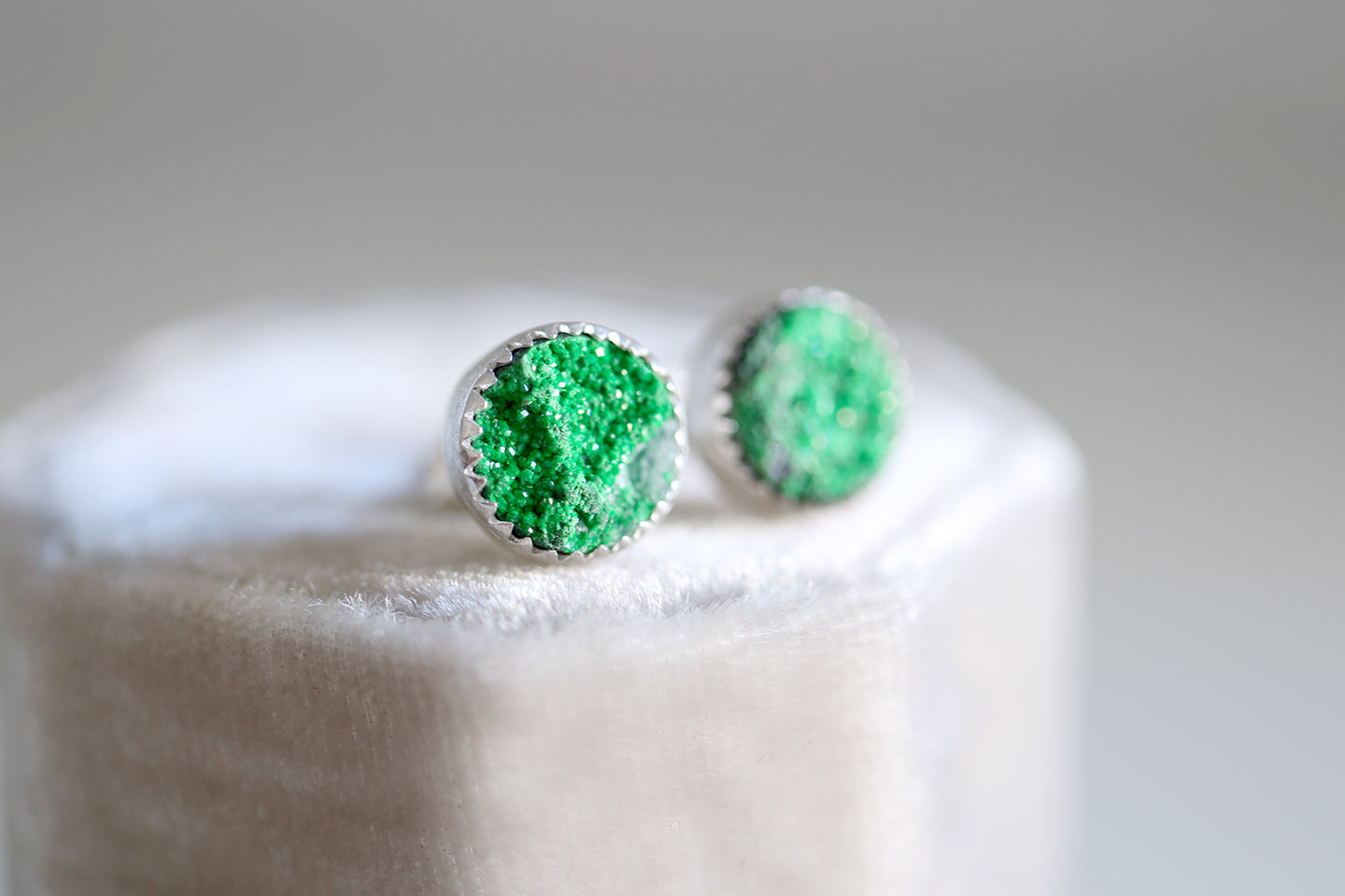 Uvarovite earrings. Sterling silver earrings with 9mm Uvarovite Garnet.