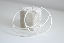 Lluna big earrings. Sterling silver Moon hoop earrings.