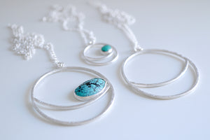 Lluna necklace. Sterling silver Moon pendant with Turquoise.