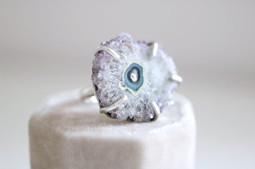 Amethyst Stalactite Ring. Sterling silver ring with natural Stalactite Amethyst.