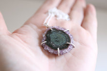 Amethyst Stalactite Necklace. Sterling silver pendant with natural Stalactite Amethyst.