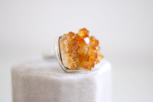 Citrine ring. Sterling silver ring with natural citrine cluster.