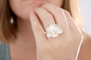 Orchid ring. Sterling silver white Orchid ring. Made to Order.
