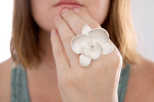 Orchid ring. Sterling silver Orchid ring. Made to Order.