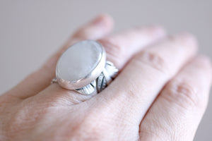 Moonstone ring. Sterling silver feather ring with natural Moonstone.