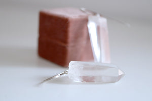 Raw Crystal earrings. Sterling silver earrings with natural raw Quartz crystal.