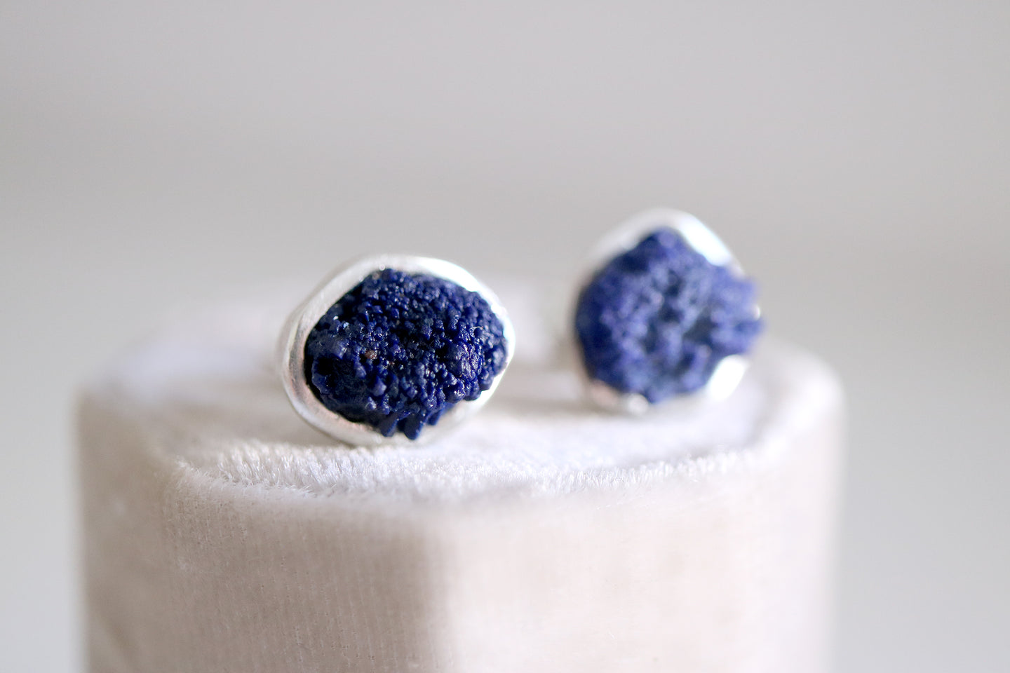 Azurite earrings. Sterling silver earrings with natural raw Azurite.