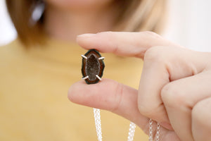 Agate geode necklace. Sterling silver pendant with natural Agate geode.