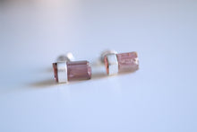 Pink Tourmaline earrings. Sterling Silver Pink Tourmaline crystal earrings.