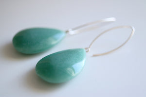 Aventurine earrings. Sterling silver earrings with natural Aventurine teardrops.