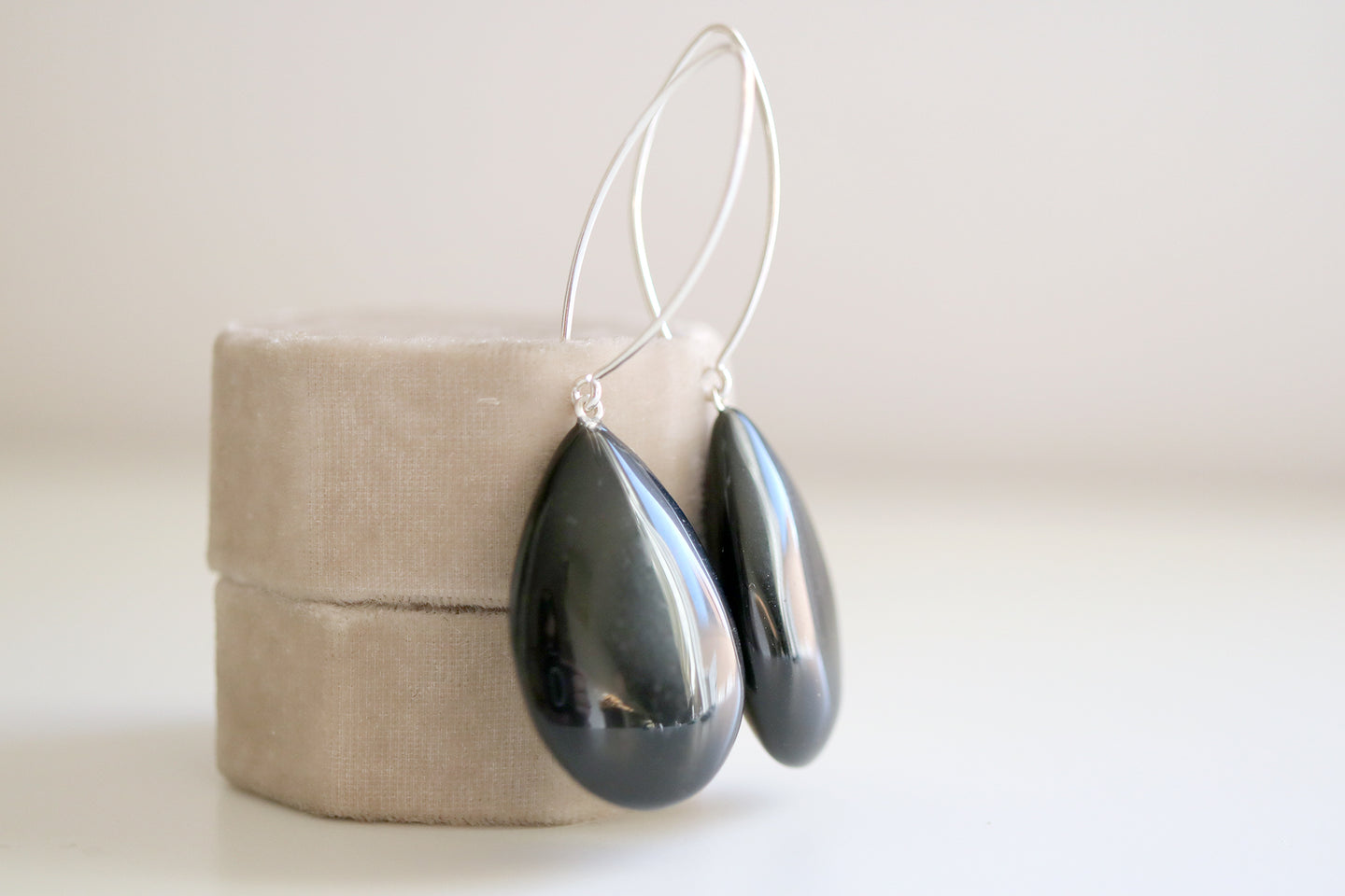 Obsidian earrings. Sterling silver earrings with Obsidian teardrops.