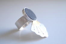 Lotus Flower ring. Sterling silver ring with 24kt gold and Slate.