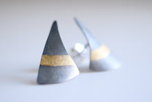 Tribal earrings. Black sterling silver earrings with 24kt gold.