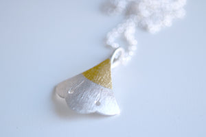 Lotus Flower. Sterling silver necklace with 24kt gold.