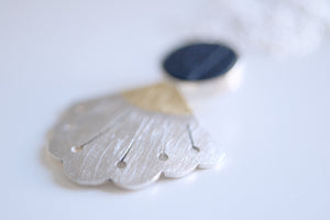 Lotus Flower necklace. Sterling silver necklace with 24kt gold and Slate.