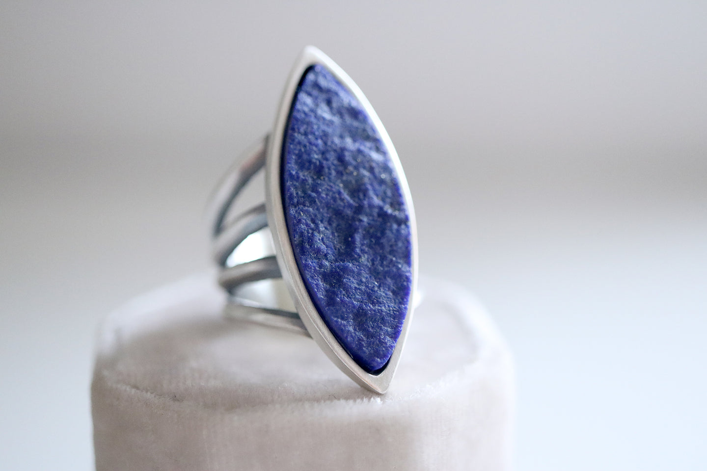 Lapis Lazuli ring. Sterling silver ring with natural blue Lapis Lazuli.
