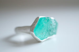 RESERVED . Emerald ring. Sterling silver ring with natural Emerald crystal.