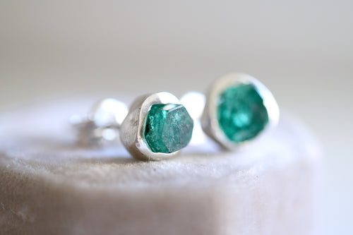 Raw Emerald earrings. Sterling silver earrings with natural emerald crystals.
