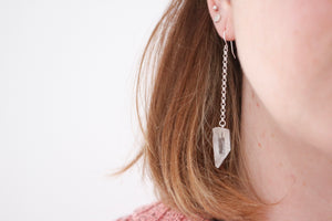 Crystal earrings. Sterling silver chain earrings with natural raw Quartz crystal.