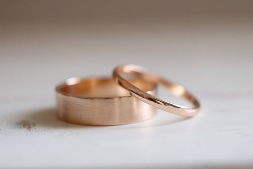 Gold Wedding Band. 18kt Rose Gold ring. 6mm. Made to Order.