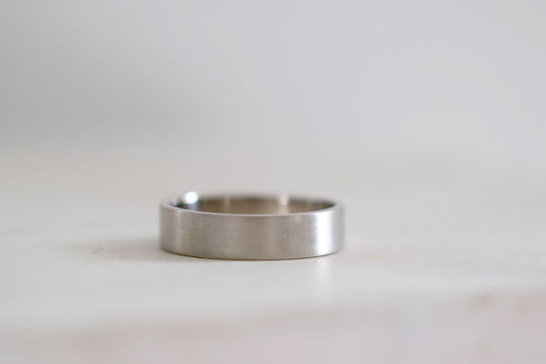 White Gold Wedding Band. 18kt white gold ring. 5mm. Made to Order.